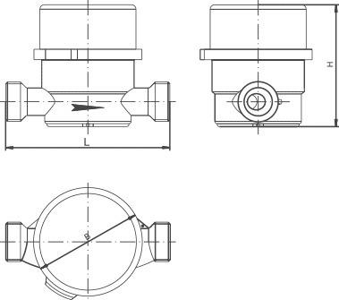 Схема габаритных размеров водосчётчиков крыльчатых универсальных с антимагнитной защитой МЕТЕР СВ